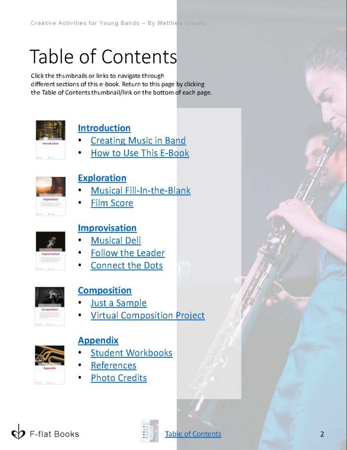 Creative Activities for Young Bands music eBook contents
