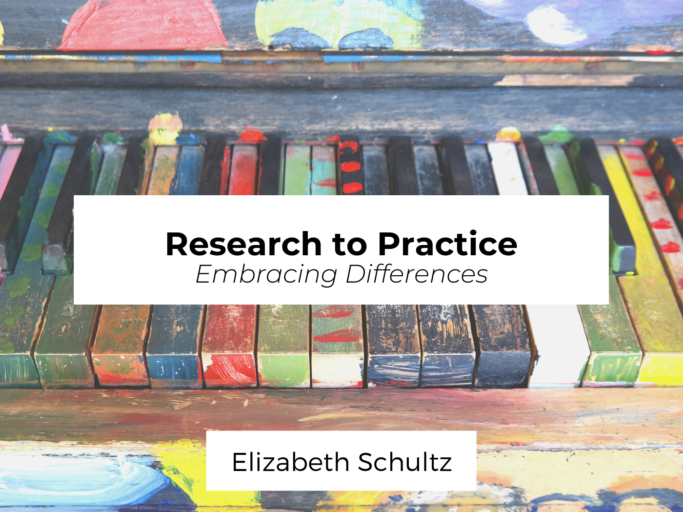 Brightly-colored piano keys with author name and blog post title.